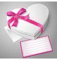 realistic blank white heart shape box with vector image vector image