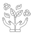 recycle icon hands and leaves vector image