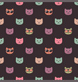 seamless pattern with cat faces on dark background vector image