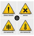 set of warning symbols vector image vector image