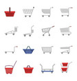 shopping cart icons set cartoon style vector image vector image