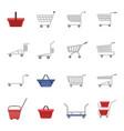 shopping cart icons set cartoon style vector image