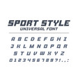 sport style universal font fast speed futuristic vector image