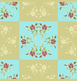 square tiles blue and beige with pink flowers vector image vector image