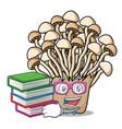student with book enoki mushroom mascot cartoon vector image vector image