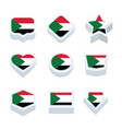sudan flags icons and button set nine styles vector image