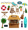 summer vacation icons set vector image vector image