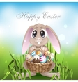 The Easter Bunny With A Basket Full vector image vector image