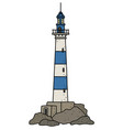 the old blue and white lighthouse vector image vector image