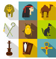 tourism in egypt icon set flat style vector image vector image