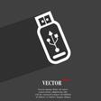 Usb flash drive icon symbol Flat modern web design vector image