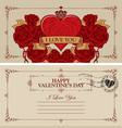 vintage valentine card with red heart and roses vector image vector image