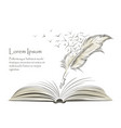 writing feather paint with flying birds and book vector image vector image