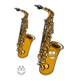 Shining brass saxophone cartoon character vector image