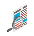 Newspaper with magnifying glass icon isometric 3d vector image