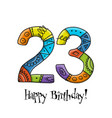 23th anniversary celebration greeting card vector image vector image