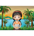 A girl holding an aquarium vector image vector image