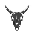 bulls scull black icon logo element isolated vector image