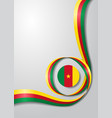 cameroon flag wavy background vector image vector image