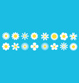 camomile big line set white daisy chamomile icon vector image