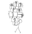 cartoon man carrying or balancing big pile of vector image vector image