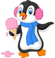 cartoon penguin with earmuffs and scarf vector image vector image