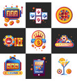 casino online promo emblems with gambling vector image