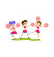 cheerleader dancing in uniform with pom poms vector image