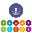 chips icons set color vector image vector image