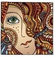 decorative cartoon red hair girl vector image