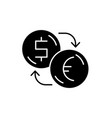 exchange of dollars for euros black icon vector image