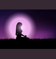 female in yoga position in sunset sky vector image vector image