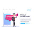 flat mobile advertising concept businessman or vector image vector image