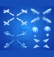 flying aircraft isometric icons set vector image
