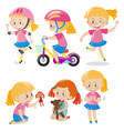 girl in pink doing different things vector image
