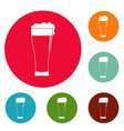 glass of beverage icons circle set vector image vector image