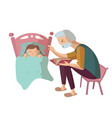 grandfather and child cartoon vector image