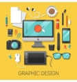 Graphic Design Workplace with Computer vector image vector image