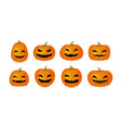 halloween symbol set of funny pumpkins cartoon vector image