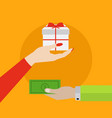 hand handing money for buying a gift shopping vector image vector image