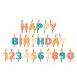 happy birthday candles birthday party letters vector image vector image