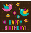 Happy Birthday Card with cute birds vector image vector image