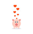 happy valentines day pink pig with hearts vector image vector image