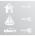 House Yacht Car Key Paper-cut vector image