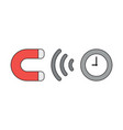 icon concept magnet attracting clock vector image