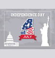 independence day 4 of july poster american statue vector image