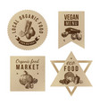 labels with organic food designs vector image