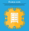 Nightstand icon sign Floral flat design on a blue vector image