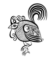 original black and white line art rooster vector image