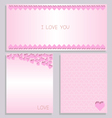 paper heart card pink set vector image vector image